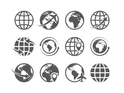 Globe icons set. World earth globe map internet global commerce tourism vector symbols set