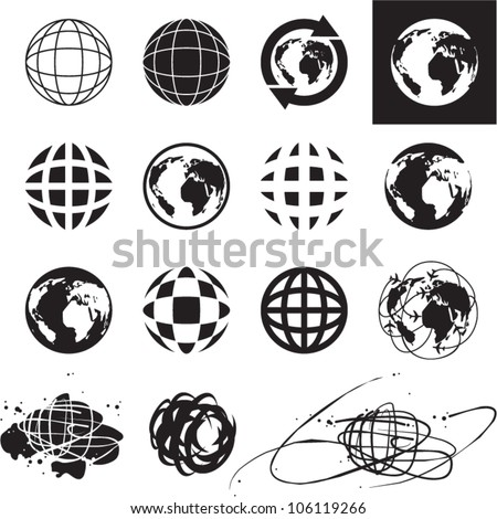 Globe icons. Vector globe sign set. - stock vector