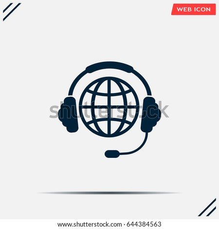 globe in headphones line icon