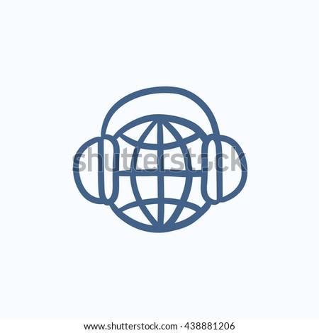 globe in headphones vector