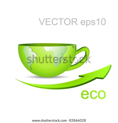 Globe in shape of a coffee cup - green earth and arrow against white background - eco business concept