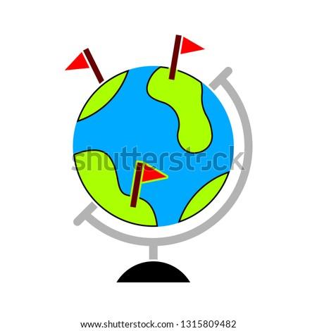 globe location icon - location map isolated, world map illustration - Vector location