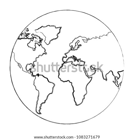Royalty Free Planet Earth Sphere Globe Map Icon 476634652 Stock