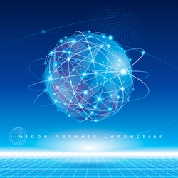 Globe network connection abstract background.