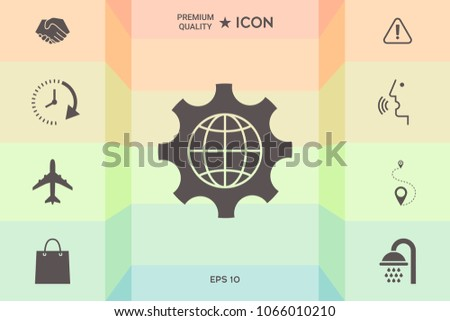 Globe of the Earth inside a gear or cog, setting parameters, Global Options icon