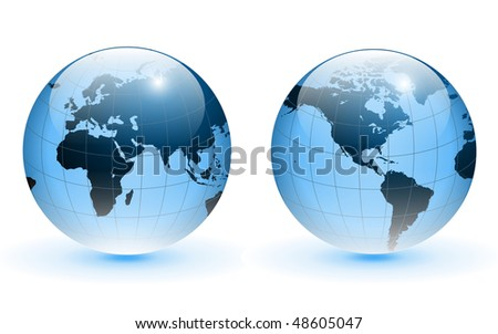 Globe of the world, blue glass, vector.