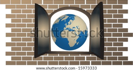 globe of the world seen from an open window