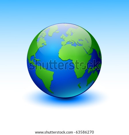 Globe on a blue background. Vector illustration. Eps10.