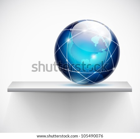globe on a shelf - global connections concept - vector