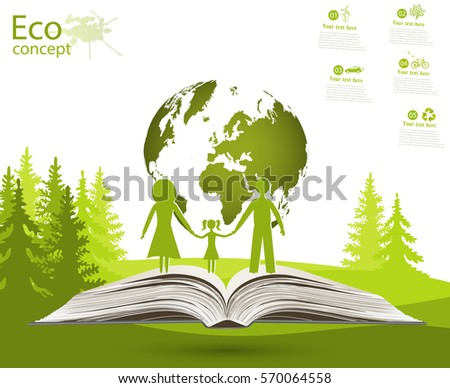 Globe on opened book. Green globe on the tree. The concept of ecology to save the planet. Eco friendly. Environmentally friendly world. Concept vector illustration of ecology. Family. landscape.