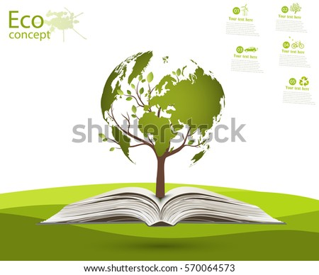 Globe on opened book. Green globe on the tree. The concept of ecology to save the planet. Eco friendly. Environmentally friendly world. Concept vector illustration of ecology. Background. landscape.