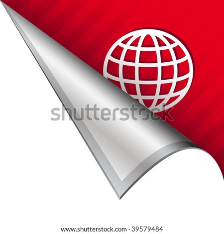 Globe or international icon on vector peeled corner tab suitable for use in print, on websites, or in advertising materials.