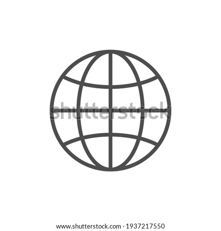 Globe or world map line icon