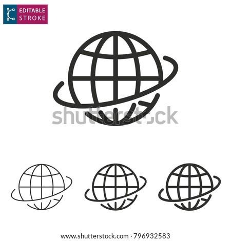 Globe - outline icon on white background. Editable stroke. Vector illustration