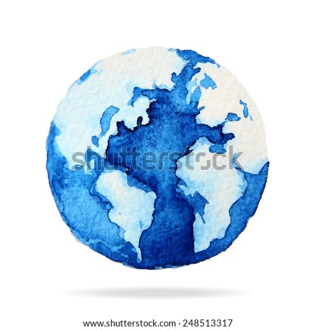 globe painted with watercolors