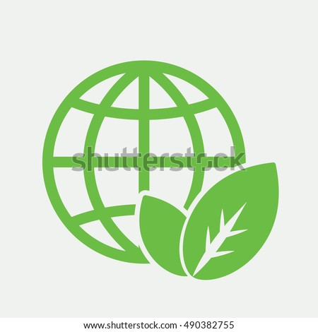 globe planet plant leaf sprout  bio eco icon simple green on white background