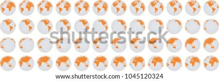 Globe rotation animation sprite sheet