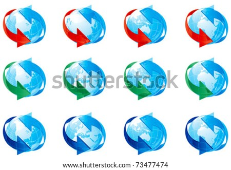 Globe set. Vector set of twelve globes with red, green and blue arrows.