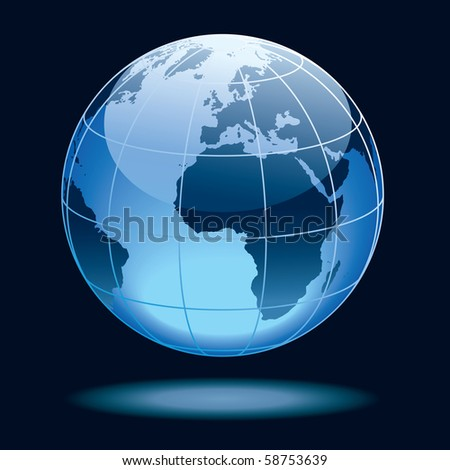 Globe showing earth with continents Europe and Africa.