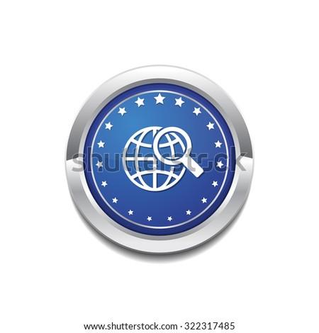 Globe Sign Blue Vector Icon Button