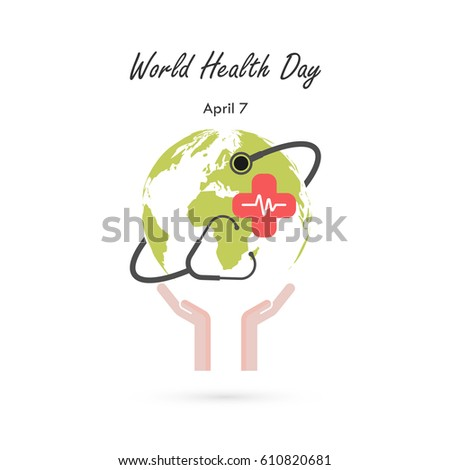 Globe sign,human hand and stethoscope vector logo design template.World Health Day icon.World Health Day idea campaign concept for greeting card and poster.Vector illustration
