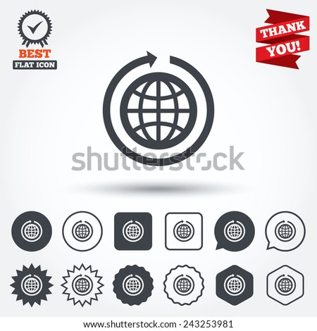 globe sign icon round the
