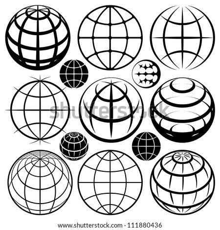 Globe signs Vector globe sign set