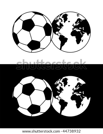stock vector : Globe soccer ball composition in black and white