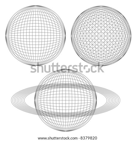Globe spheres and rings. - stock vector