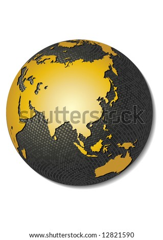 Globe. Stylized 3D vector map, centered on Asia.
