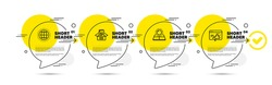 Globe, Sun energy and Documents box line icons set. Timeline infograph speech bubbles. Seo marketing sign. Internet world, Solar panels, Bureaucracy. Megaphone. Science set. Vector