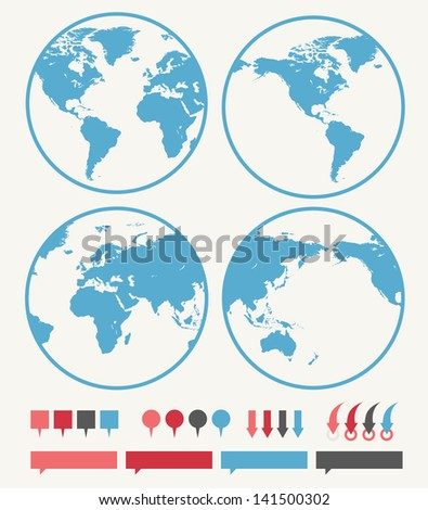 Globe vector. Illustrations of the globe vector isolated on background. Image include four options of globe and various vector pins. Each globe vector option is showing different  Earth parts.