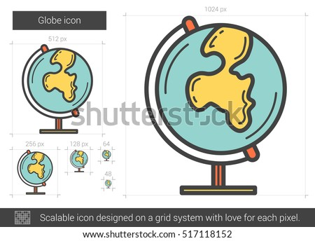 globe vector line icon isolated