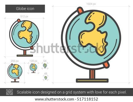globe vector line icon isolated