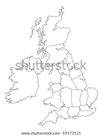 Globe Vector Map of United Kingdom and Ireland.