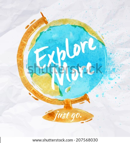 globe watercolor poster hand