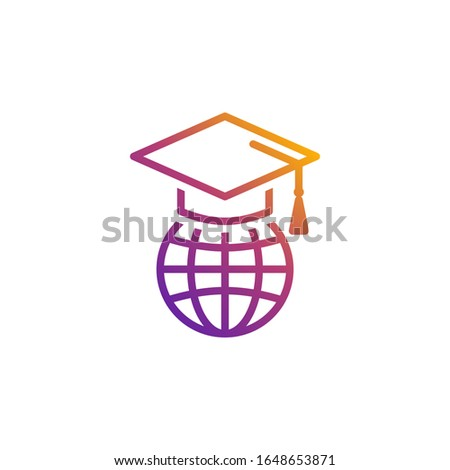 Globe with a student's cap vector icon with bright color gradient for internet and online education, e-learning resources, distant online courses, universities and schools.
