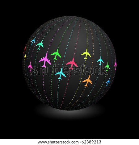 Globe with aircraft signs. Vector illustration.