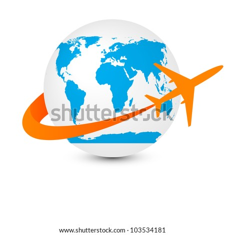 globe with airplane vector