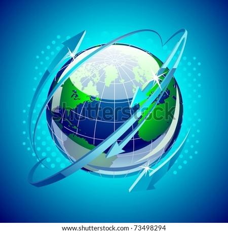 globe with arrows around it