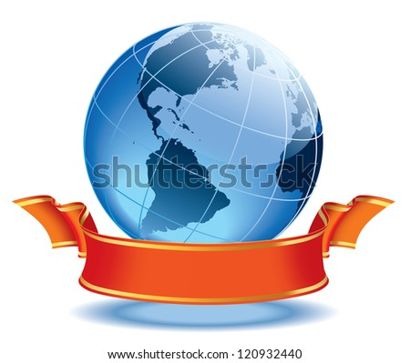 Globe with blank red banner, earth with american continents.