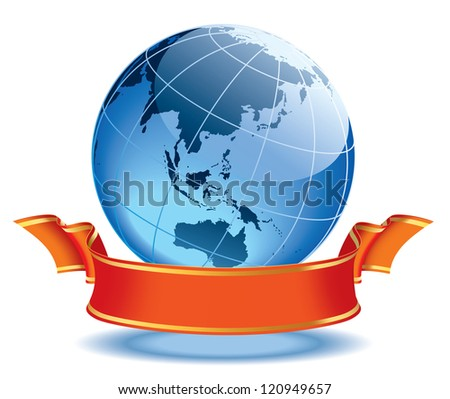 Globe with blank red banner, earth with Australia and Asia.