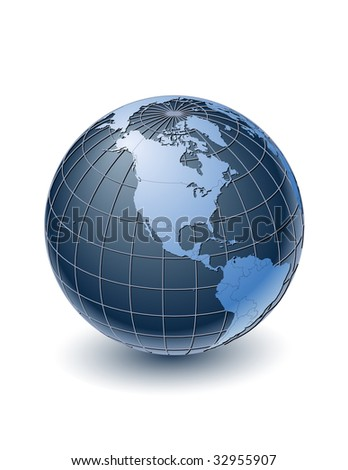 Globe with country borders, centered on North America. Highly detailed. Separate layers for globe, grid, continents and borders, fully editable.