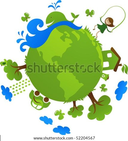 Globe with cute eco icons