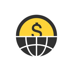 Globe with dollar icon cut in half in a flat design in black and yellow color. Vector illustration isolated on white background.