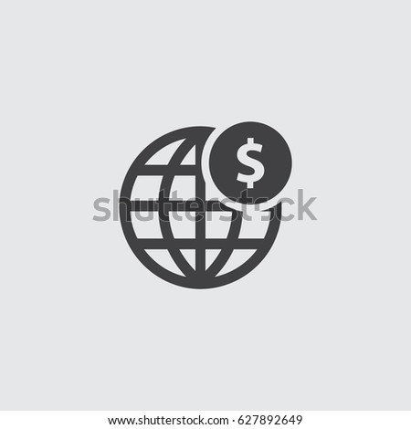 globe with dollar icon in a