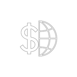 Globe with dollar. simple flat vector icon illustration. outline line symbol - editable stroke