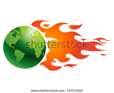 globe with flames vector illustration