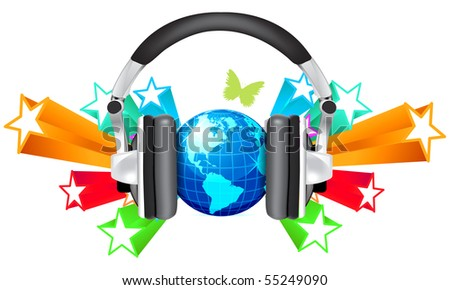 globe with headphones isolated