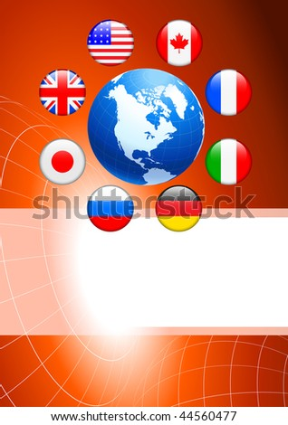 Globe with Internet Flag Buttons Background Original Vector Illustration